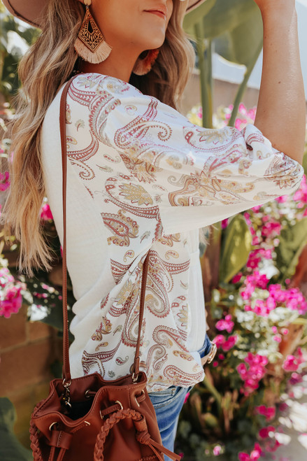 Puff Sleeve Contrast Paisley Ribbed Top