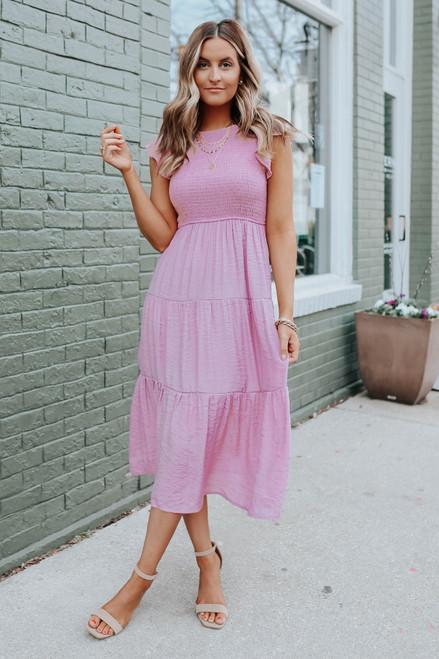 Ruffle Sleeve Smocked Dusty Pink Midi Dress