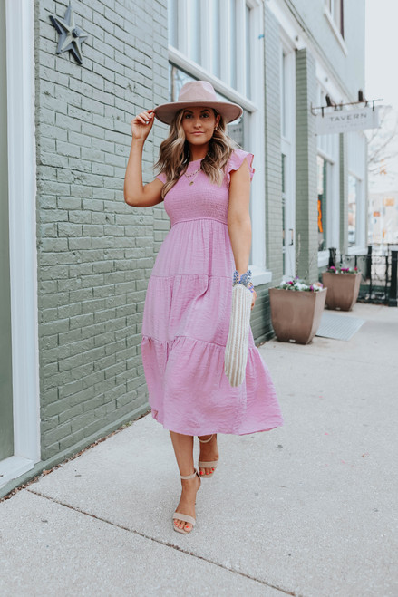 Ruffle Sleeve Smocked Dusty Pink Midi Dress