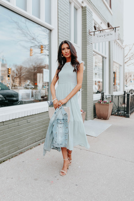 Ruffle Sleeve Smocked Dusty Mint Midi Dress