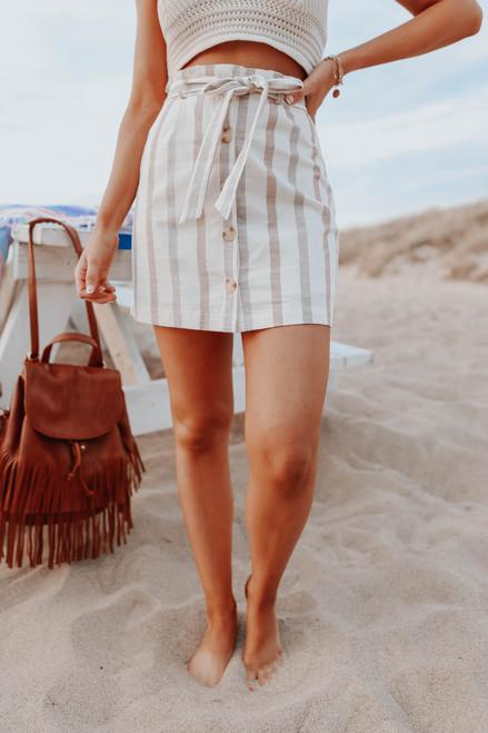 Button Down Neutral Stripe Paperbag Skirt