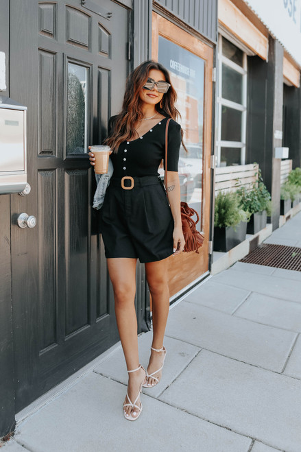 Belted Black Linen Shorts