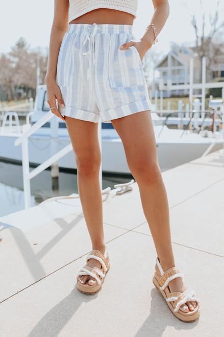 Drawstring Blue Striped Cuffed Shorts