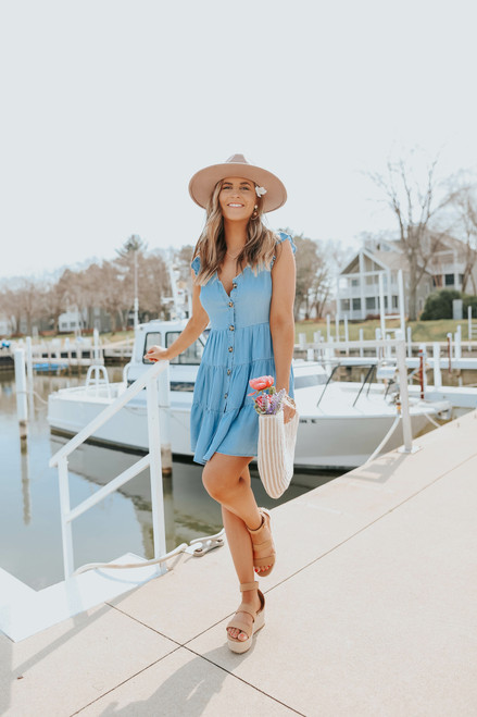 Button Down Tiered Chambray Dress