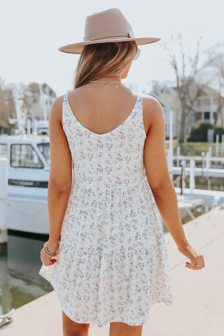 Button Detail Ivory Floral Tiered Dress