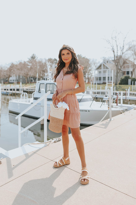 Button Down Dusty Peach Dotted Tiered Dress
