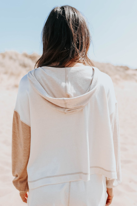 Contrast Stitch Colorblock Brushed Hoodie