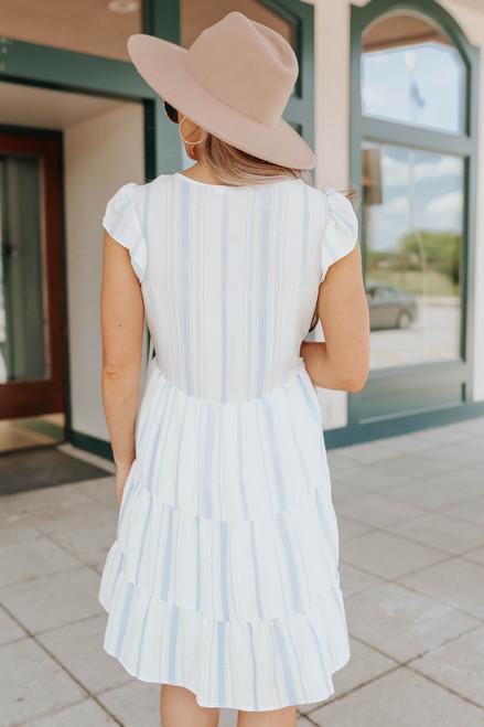 Beach Club V-Neck Striped Tiered Dress
