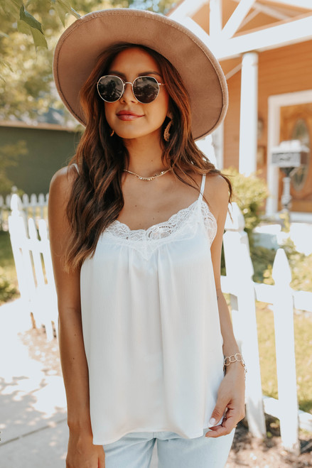 V-Neck Lace Detail Ivory Dotted Cami