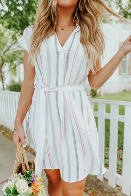 V-Neck Striped Button Back Dress