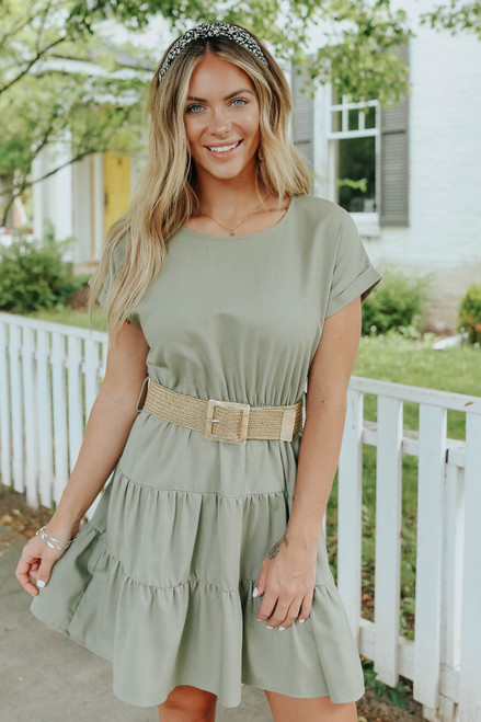 Short Sleeve Belted Olive Tiered Dress