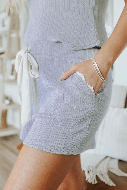 Drawstring Lilac Grey Ribbed Lounge Shorts