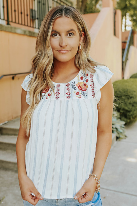 Cap Sleeve Floral Embroidered Striped Top