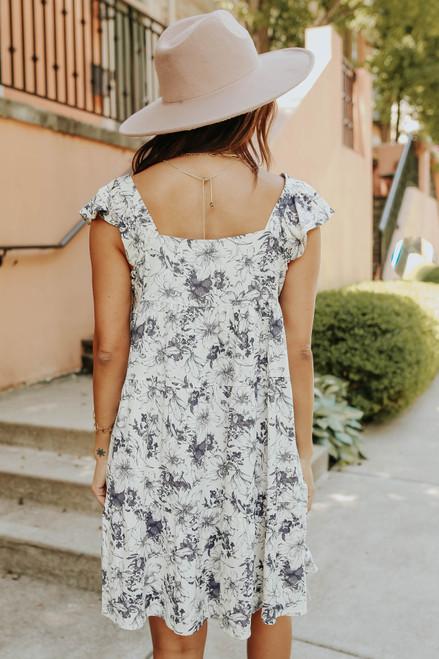 Square Neck Charcoal Floral Dress