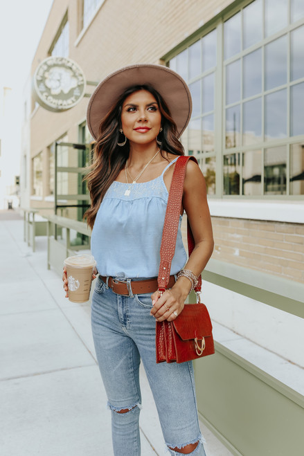Keep It Sweet Embroidered Chambray Tank