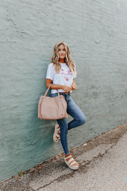 Floral Heart Mama White Tee