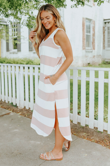 Mina Wide Stripe Curved Hem Midi Dress
