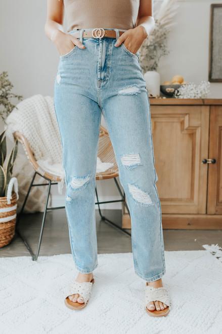 Kendall Light Wash Straight Leg Jeans