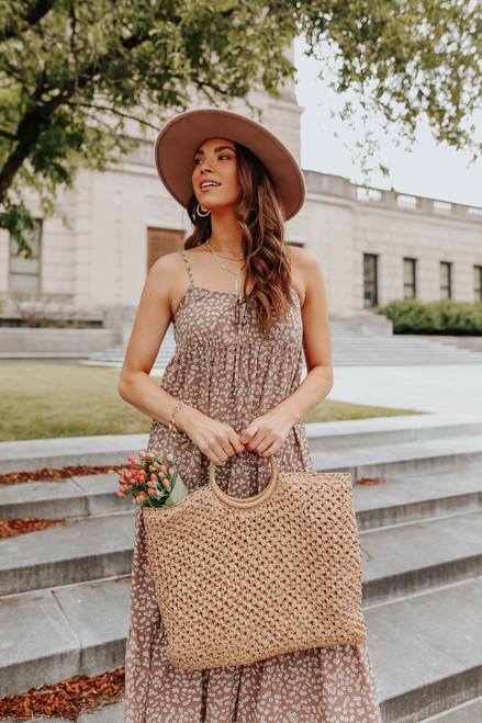 V-Neck Mauve Floral Tiered Midi Dress