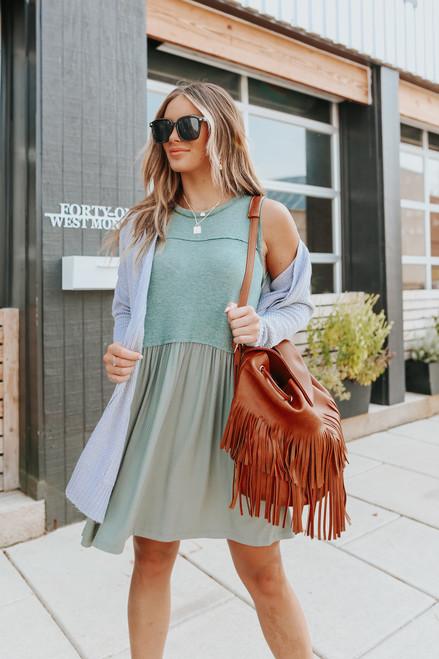 Contrast Sleeveless Green Mini Dress