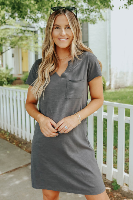 V-Neck Charcoal Pocket T-Shirt Dress