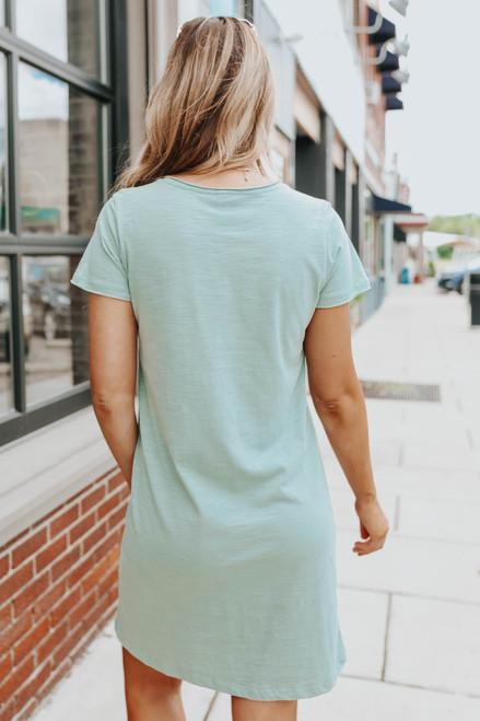 V-Neck Sage Pocket T-Shirt Dress