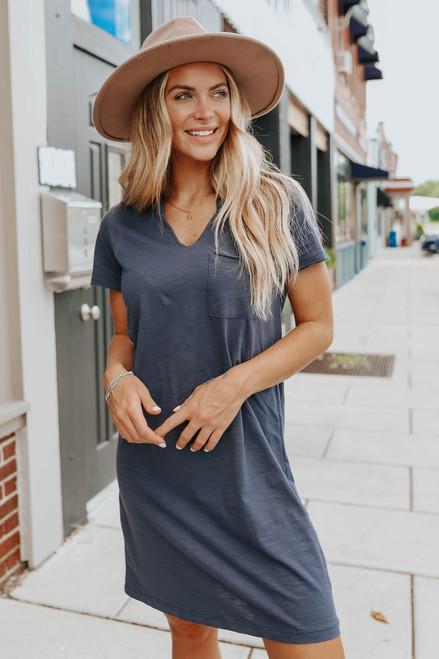 V-Neck Navy Pocket T-Shirt Dress