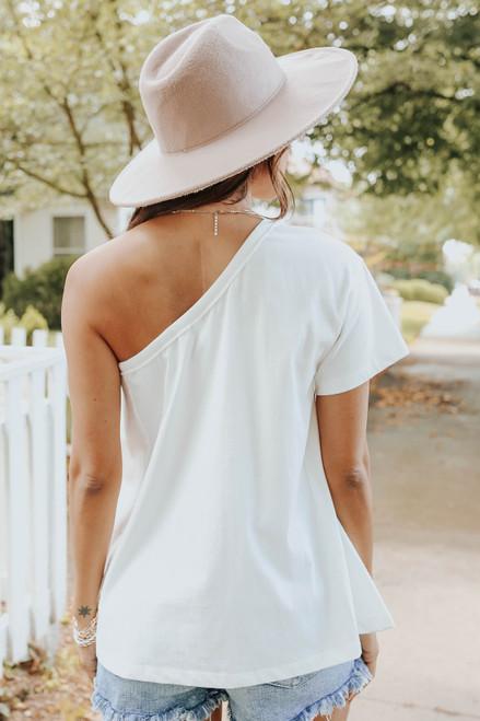 Selena One Shoulder Ivory Top