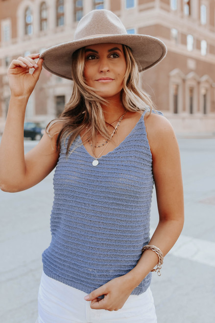 Tie Strap Dusty Blue Textured Ribbed Tank