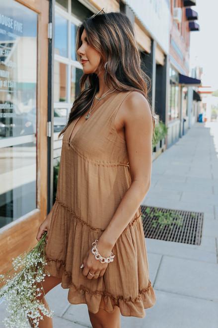 V-Neck Tiered Ruffle Gold Babydoll Dress