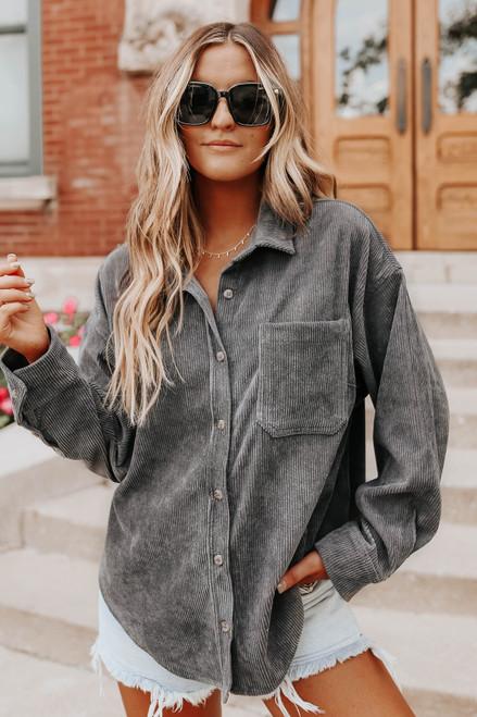 Button Down Charcoal Corduroy Shirt