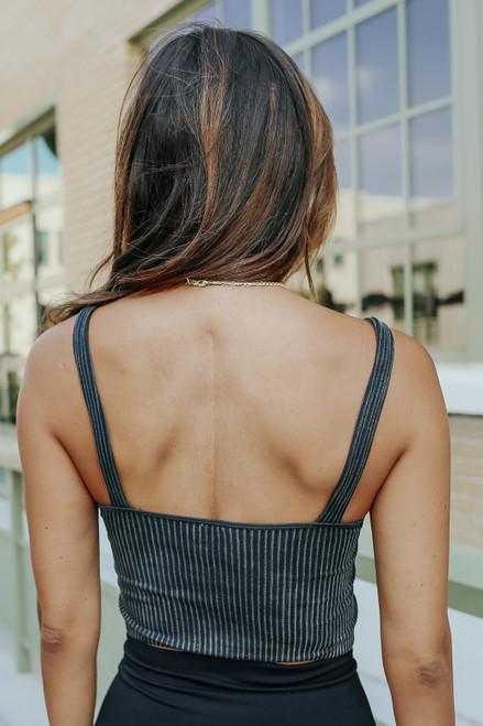 V-Neck Seamless Charcoal Ribbed Bralette