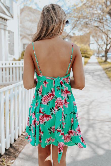 V-Neck Green Floral Ruffle Hem Dress