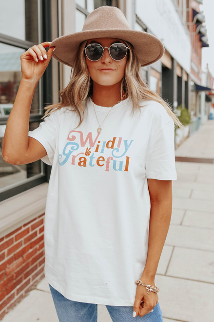 Wildly Grateful Distressed Ivory Graphic Tee