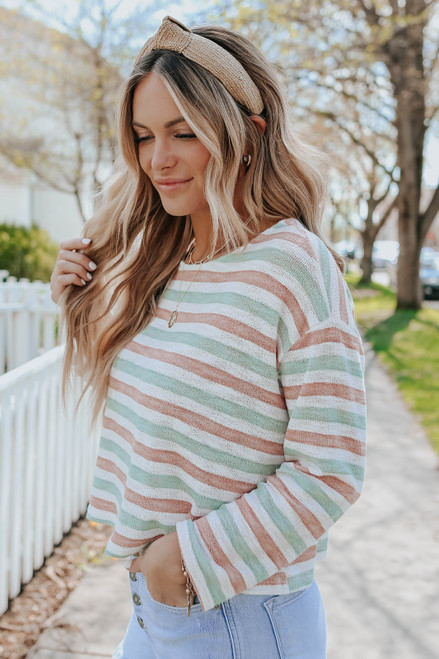 Kinsley Open Knit Striped Pullover