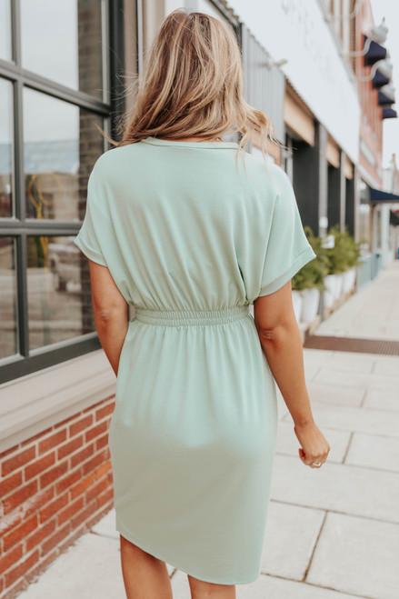 Dolman Sleeve Smocked Waist Sage Dress