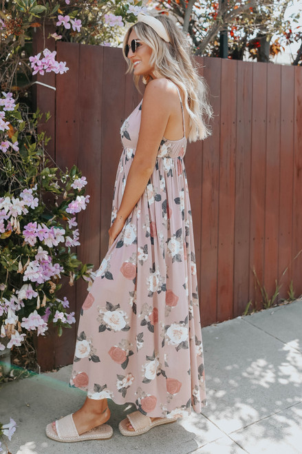 V-Neck Frayed Rose Floral Maxi