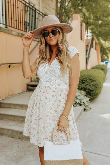 In My Dreams Lace Detail Floral Dress