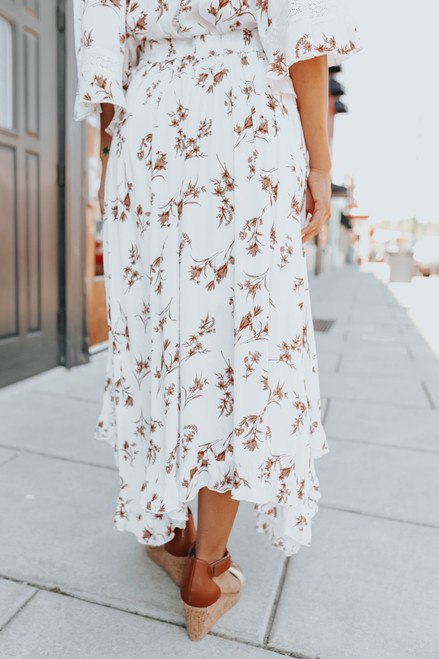 Asymmetrical Ruffle Copper Floral Maxi Skirt