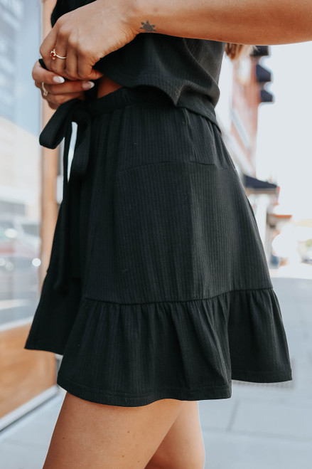 Moxie Drawstring Black Ribbed Shorts