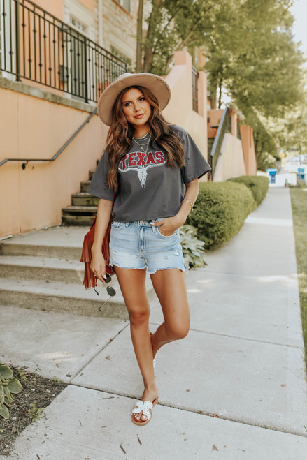 Texas Distressed Charcoal Graphic Tee