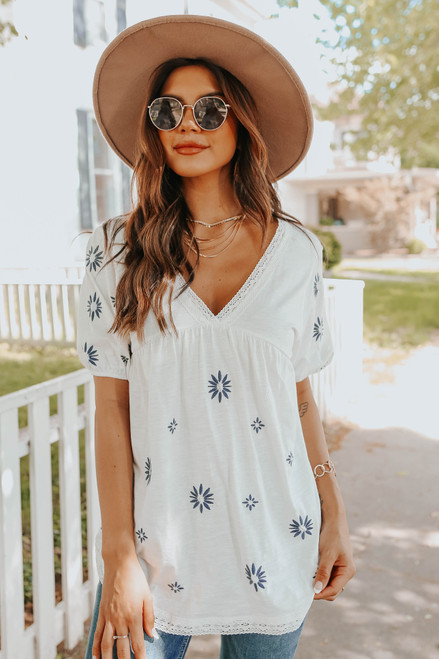 V-Neck Embroidered Empire Top