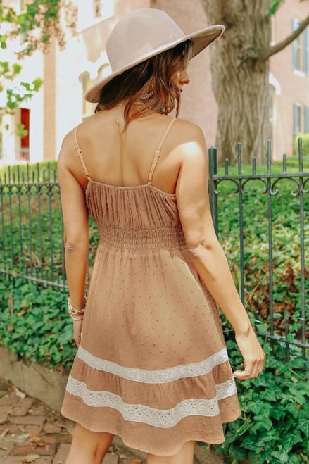V-Neck Crochet Detail Camel Dotted Dress