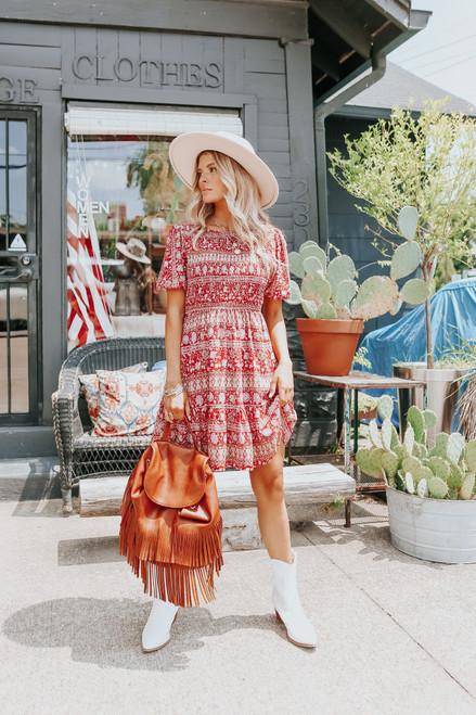 Short Sleeve Smocked Brick Mixed Print Dress