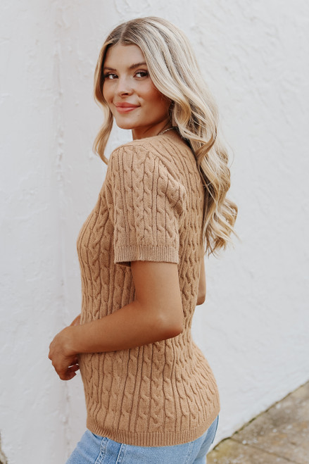 Short Sleeve V-Neck Camel Cable Sweater