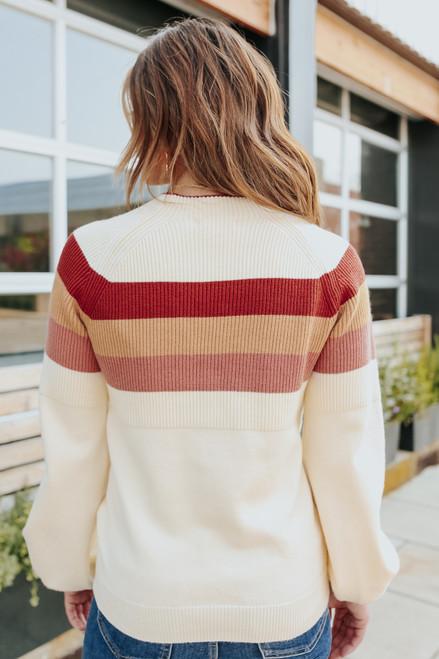 Mock Neck Multi Stripe Ribbed Sweater