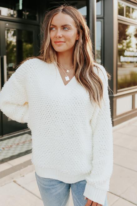 Natasha V-Neck Ivory Looped Sweater