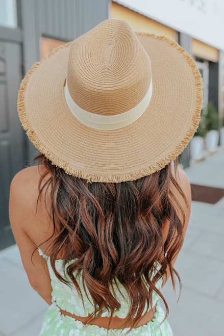 Beach Ready Belted Frayed Straw Hat
