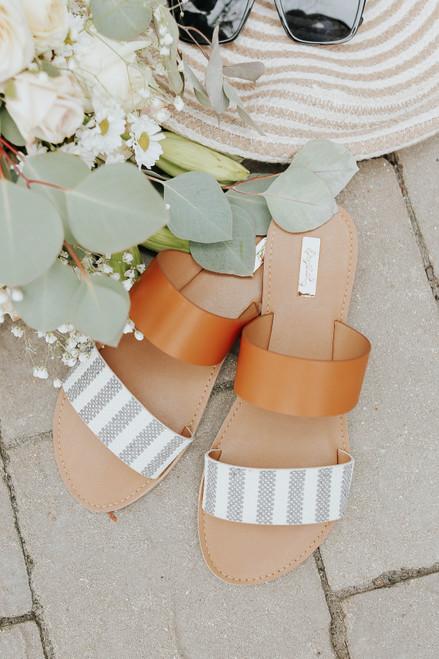 Contrast Stripe Strappy Sandals
