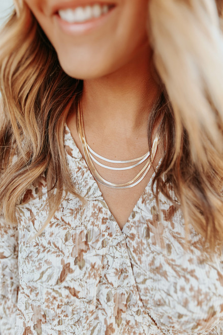 Coco Layered Herringbone Necklace